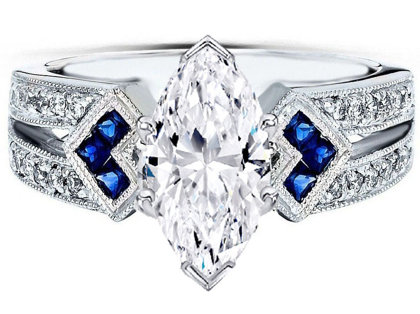 Engagement Ring Marquise Diamond Engagement Ring Trio Blue Sapphire Double Diamond Band Es1152mqwg