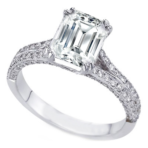 Vintage Style Emerald Cut Engagement Rings