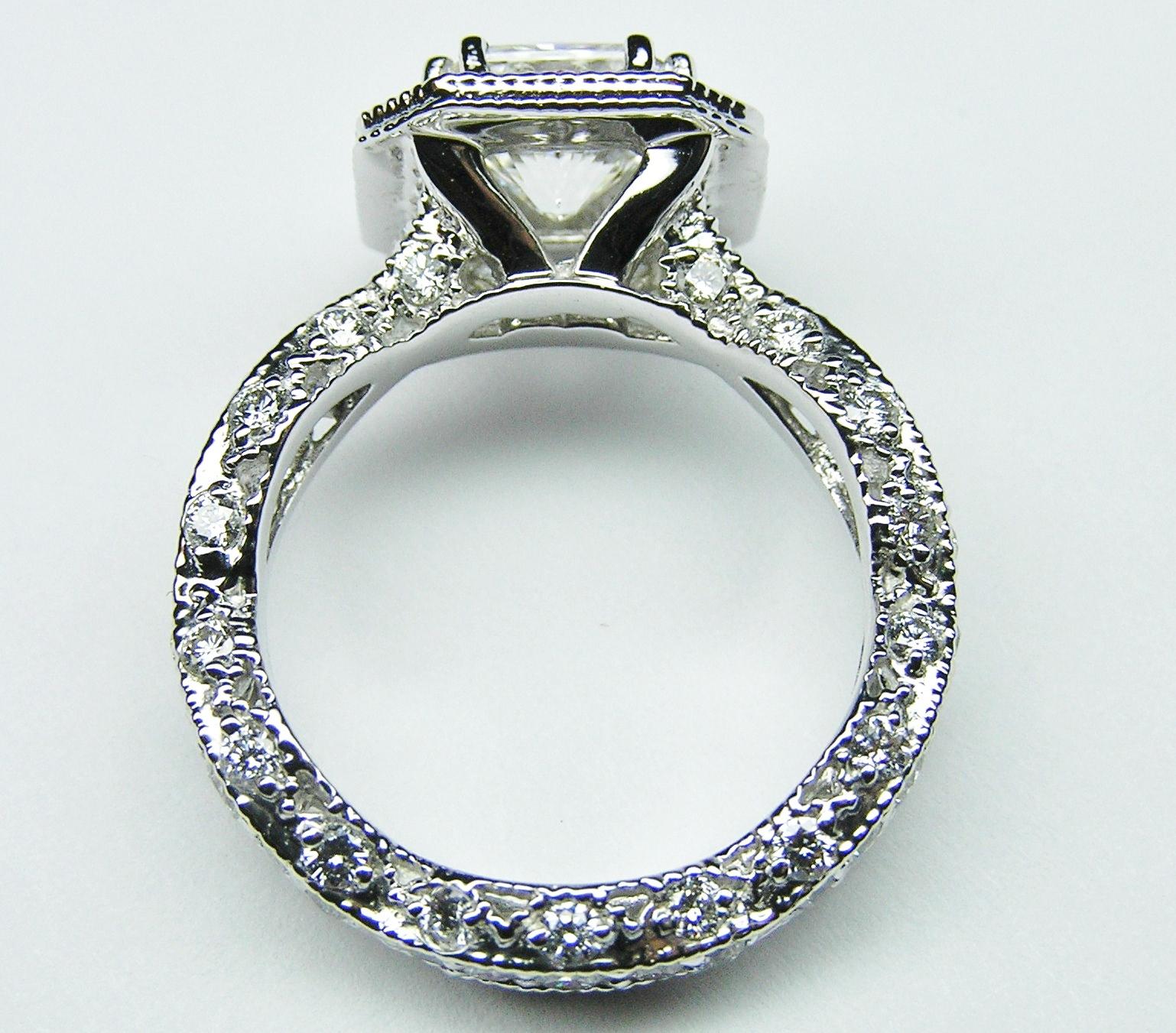 engagement ring radiant diamond vintage pave engagement. Black Bedroom Furniture Sets. Home Design Ideas