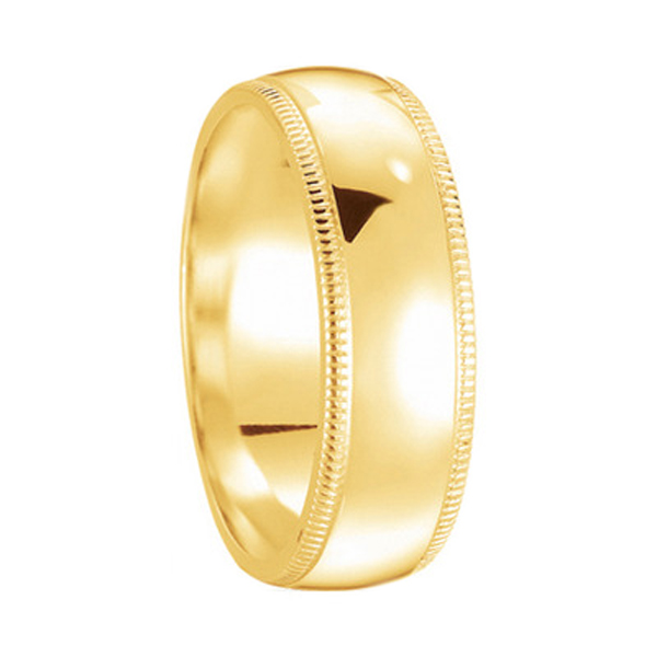 14 Karat Yellow Gold Men 5mm Dome Wedding Band with Milligrain