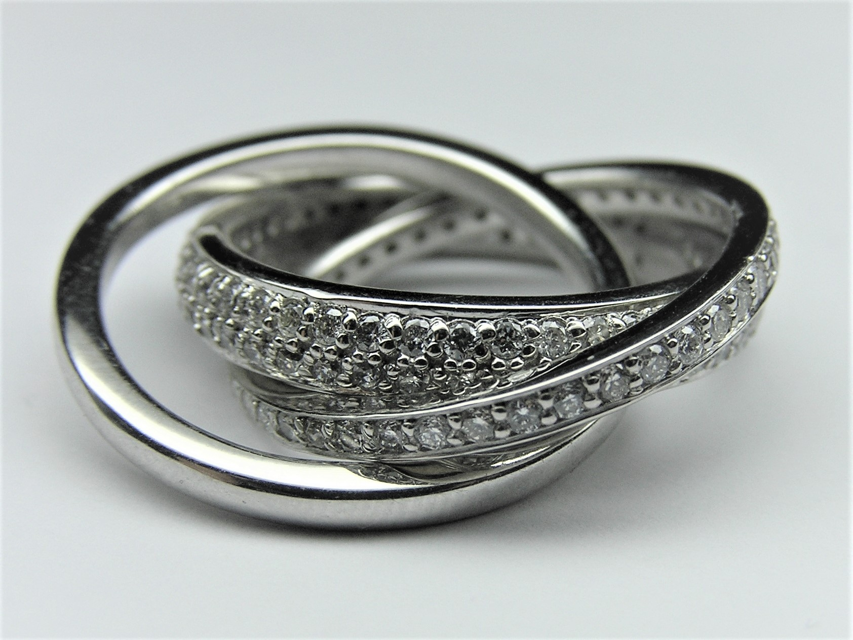 Eternity Triple Rolling Bands in 14k White Gold