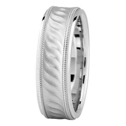 White Gold Milligrain Wave Wedding Band for Men