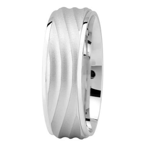 White Gold Wave Wedding Band for Men