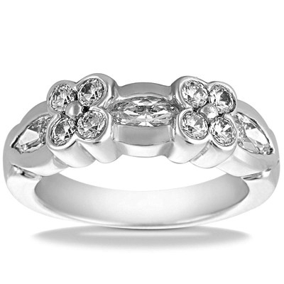 Marquise and Round Diamond Floral Ring