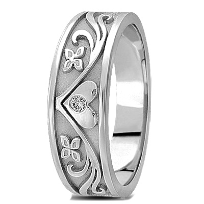 Engraved Diamond Floral Wedding Band for Men in White Gold