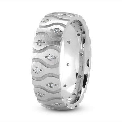Satin Diamond Wave Platinum Wedding Band
